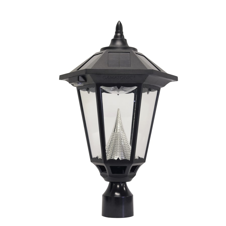 shop gama sonic windsor 20 in h black solar led post light