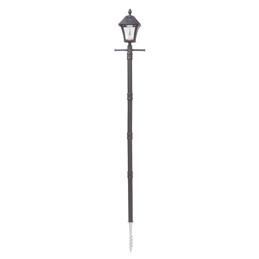 Gama Sonic Baytown 83-in H Black Solar Integrated Complete Post Light
