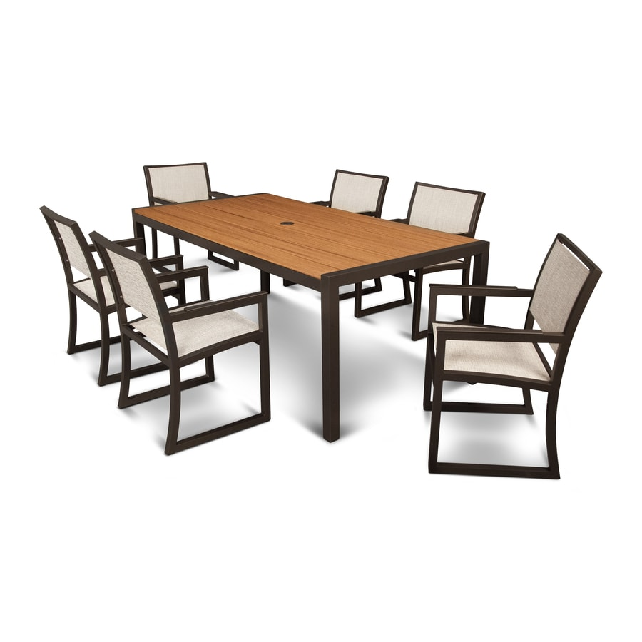 Shop trex outdoor furniture parsons 7 piece satin bronze for Outdoor furniture 7 piece