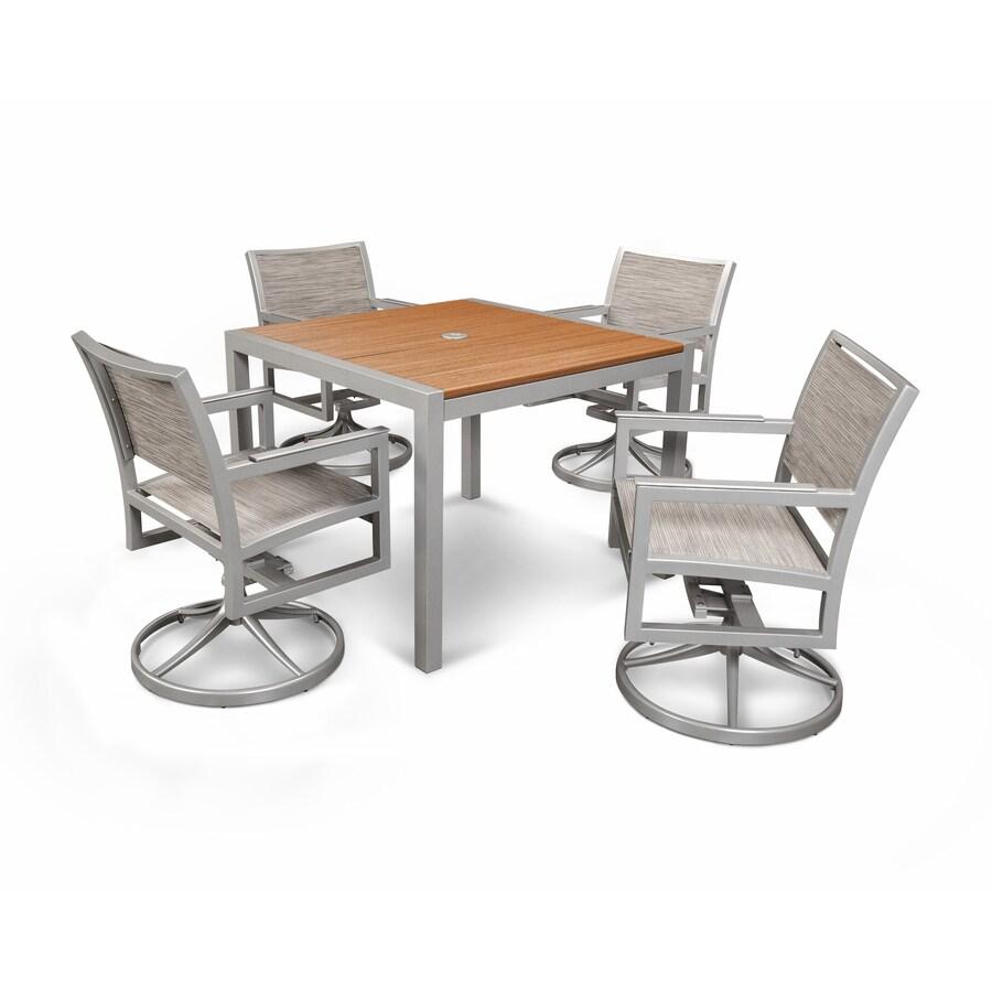 Trex Outdoor Furniture Parsons 5-Piece Satin Silver/Tiki Torch/Onyx Plastic  Dining - Shop Trex Outdoor Furniture Parsons 5-Piece Satin Silver/Tiki Torch