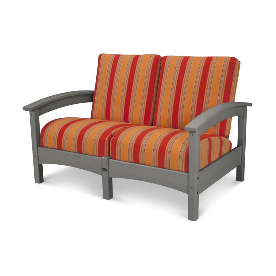 Trex Outdoor Furniture Rockport Solid Cushion Stepping Stone/Bravada Salsa Plastic Loveseat