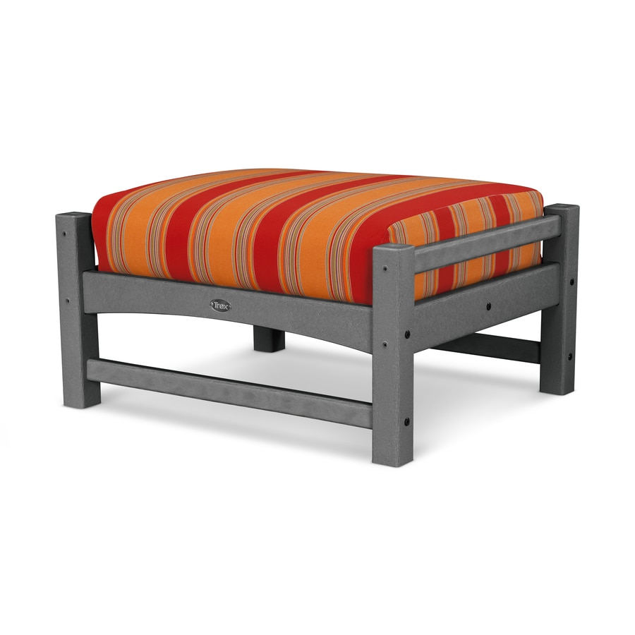 Trex Outdoor Furniture Rockport Stepping Stone / Bravada Salsa Plastic Ottoman