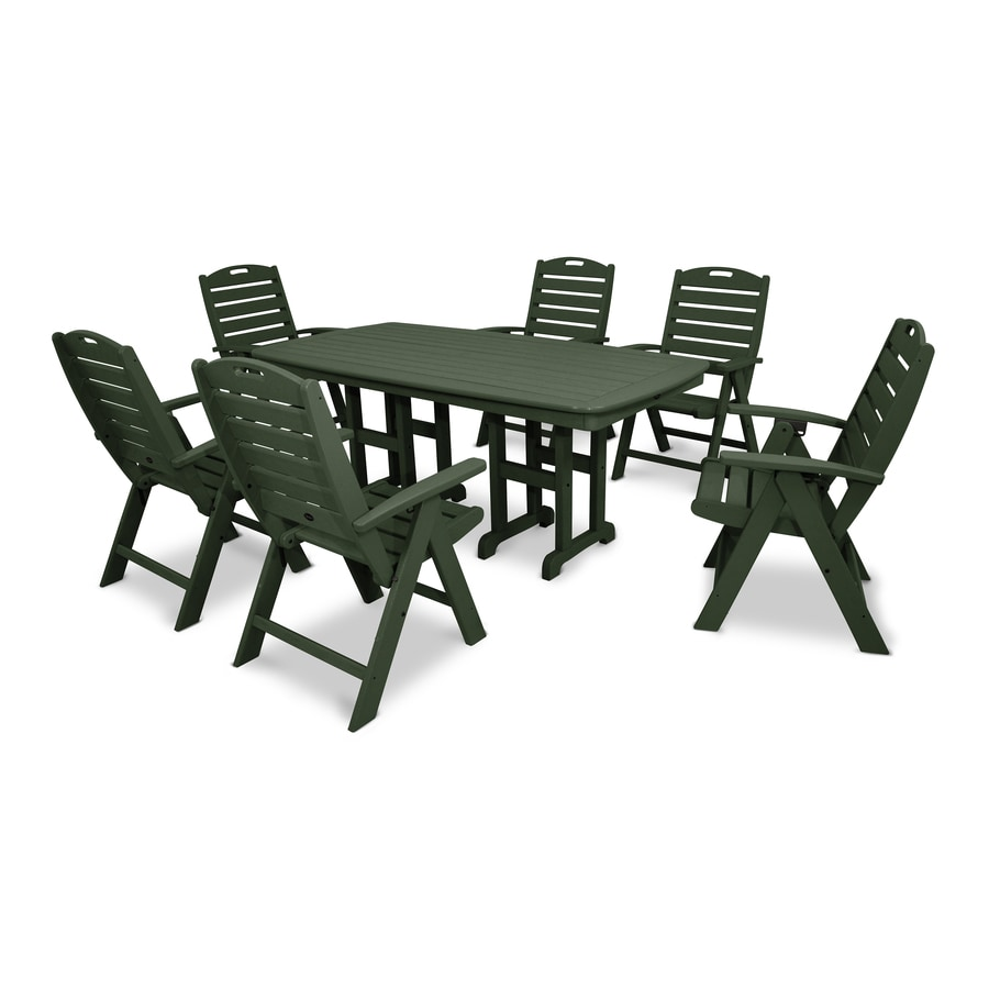 Trex Outdoor Furniture Yacht Club 7-Piece Rainforest Canopy Plastic Dining Patio Dining Set