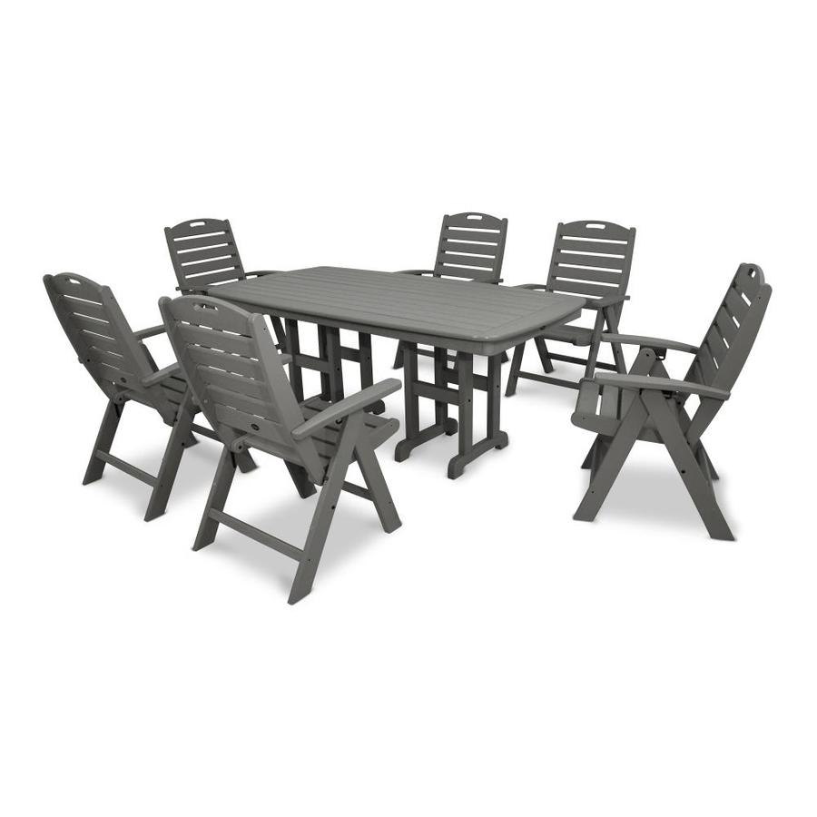 Trex Outdoor Furniture Yacht Club 7 Piece Gray Plastic Frame Patio Dining  Set