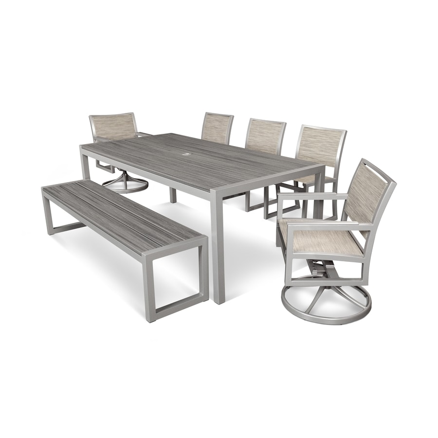 Shop Trex Outdoor Furniture Parsons 7 Piece Satin Silver Island Mist Onyx Pla