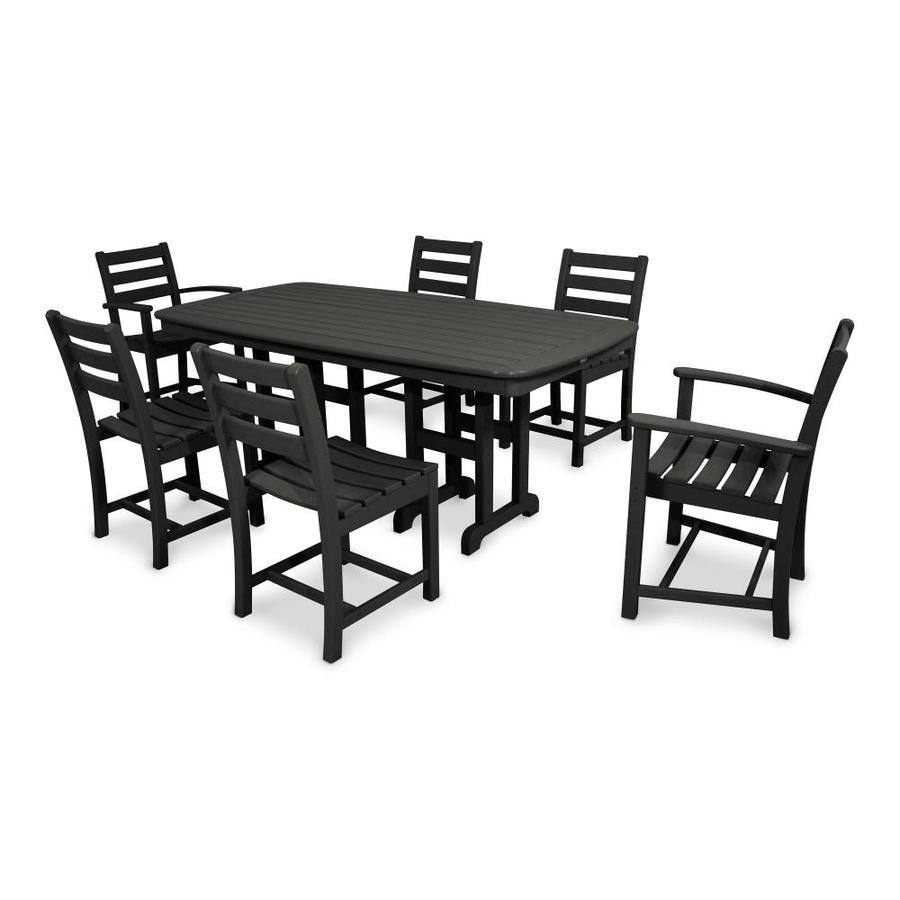 outdoor furniture monterey bay 7 piece charcoal black plastic dining