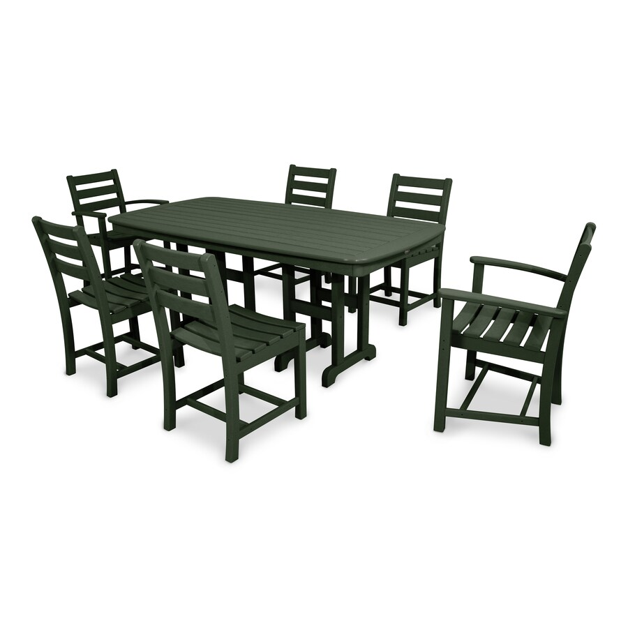 Trex outdoor furniture monterey bay 7 piece green plastic frame patio dining set