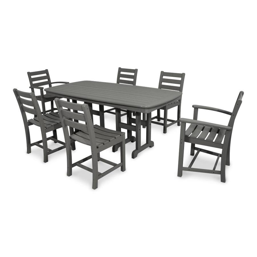 Trex Outdoor Furniture Monterey Bay 7-Piece Stepping Stone Plastic Dining Patio Dining Set