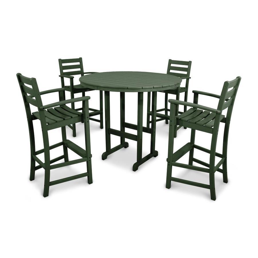 Trex Outdoor Furniture Monterey Bay 5-Piece Rainforest Canopy Plastic Patio Bar Set