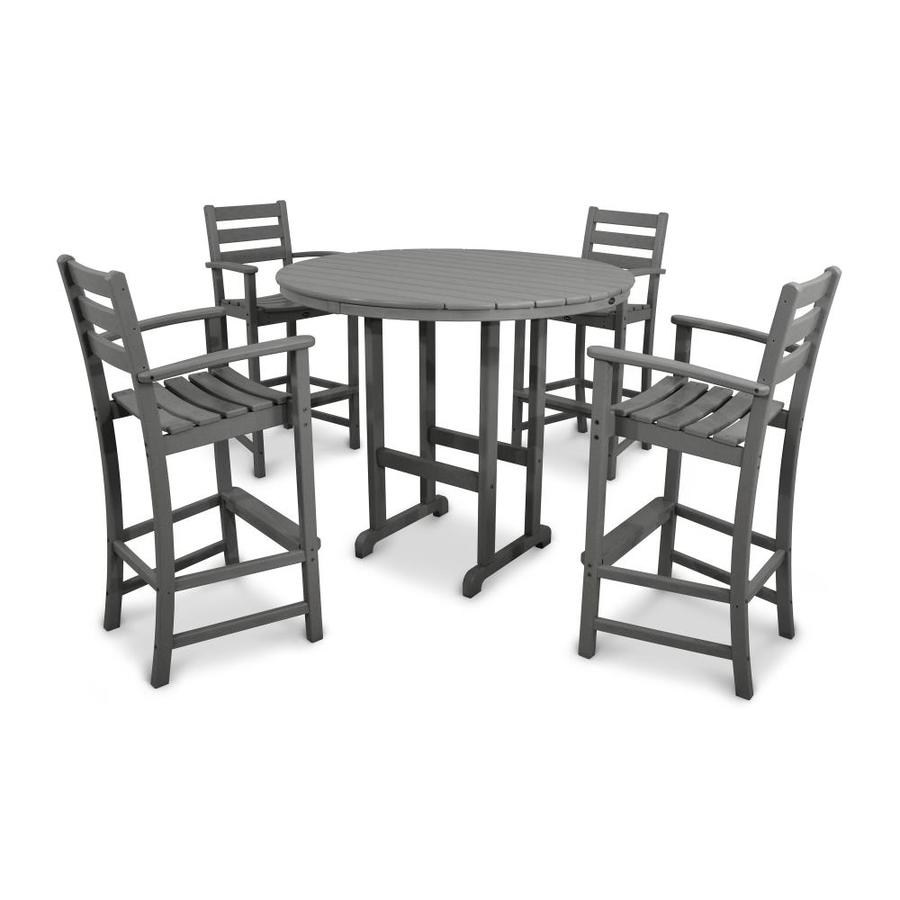 Trex Outdoor Furniture Monterey Bay 5 Piece Stepping Stone Plastic Patio  Bar Set