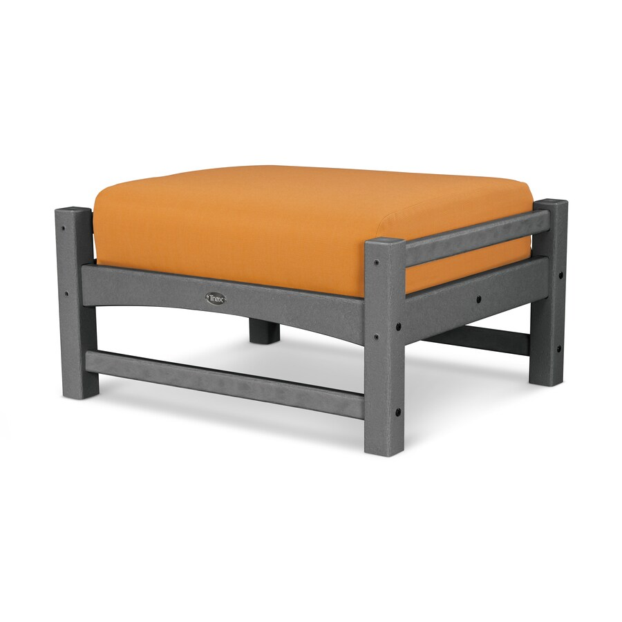 Trex Outdoor Furniture Rockport Stepping Stone/Tangerine Plastic Ottoman