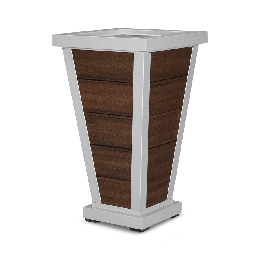 Trex Outdoor Furniture 18.25-in x 31.5-in Satin Silver/Lava Rock Plastic Traditional Planter