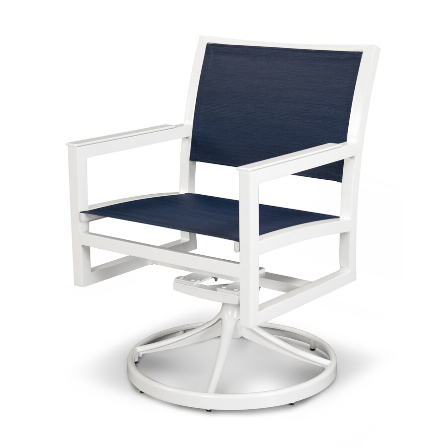 Trex Outdoor Furniture Parsons Satin White / Sapphire Plastic Patio Rocking Chair