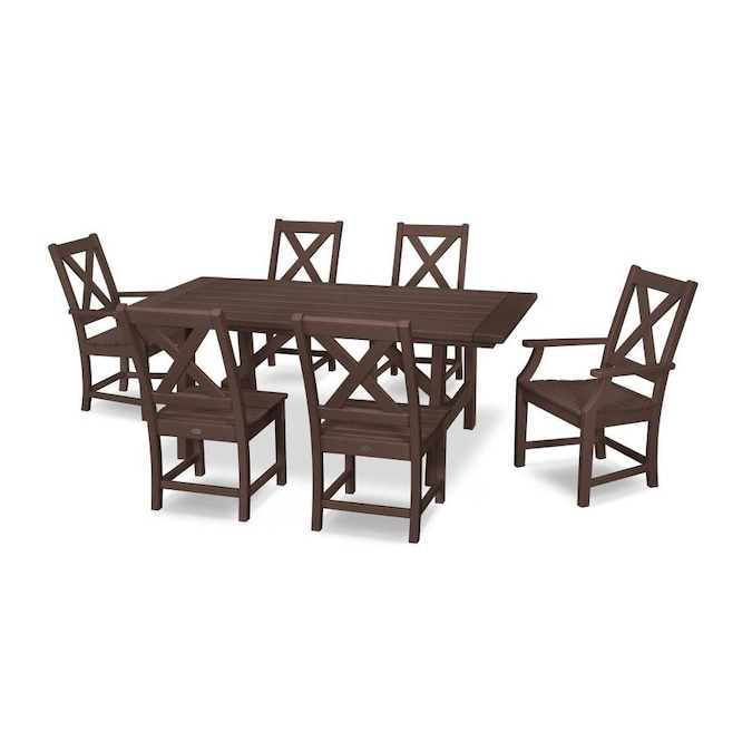 Polywood Braxton 7 Piece Brown Frame Patio Set In The Patio Dining Sets Department At Lowes Com