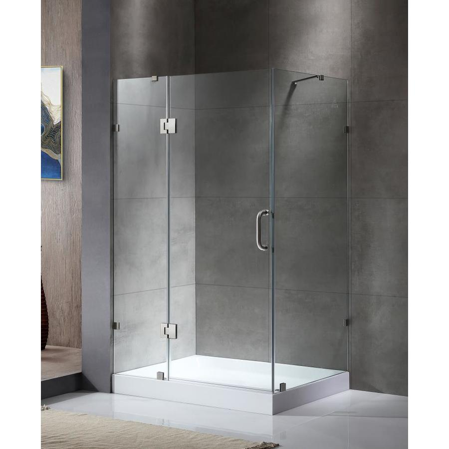 ANZZI Archon Series 46.3-in to 46.3-in Frameless Polished Chrome Hinged Shower Door