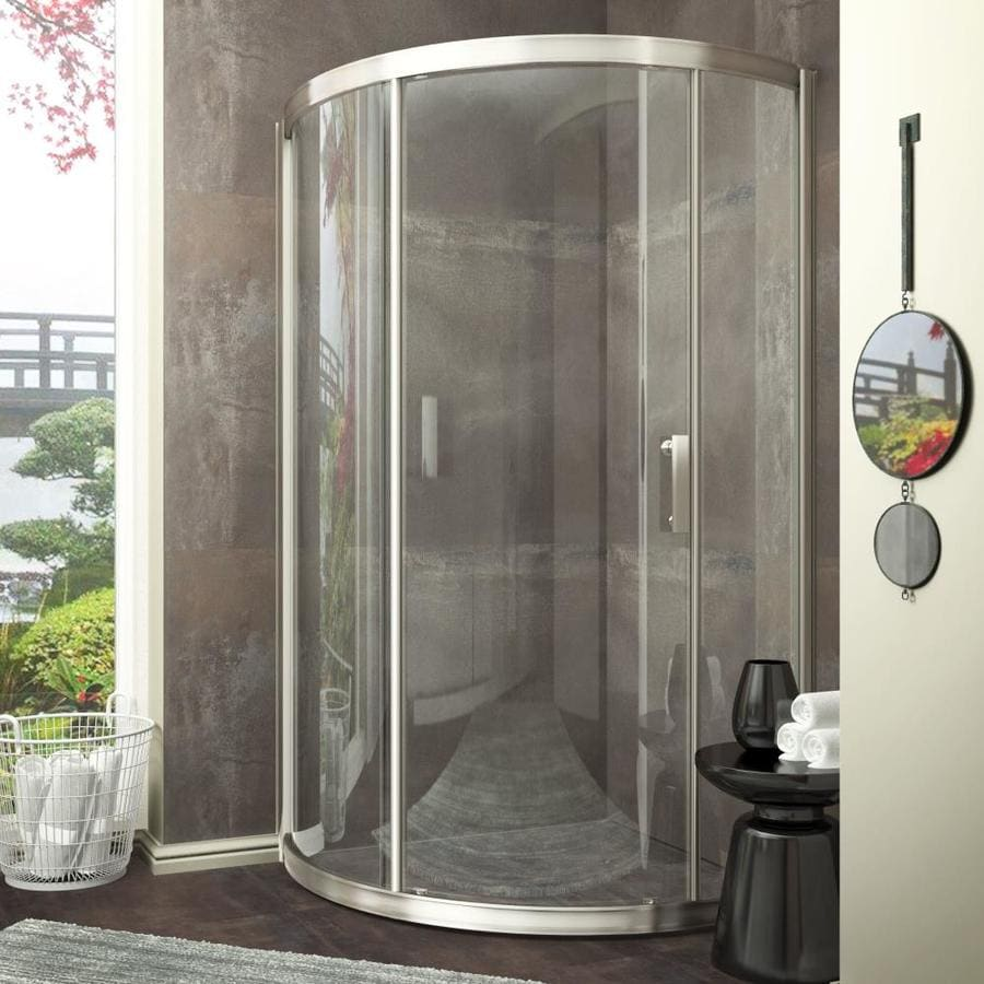 ANZZI Baron Series 20-in to 39-in Framed Brushed Nickel Sliding Shower Door