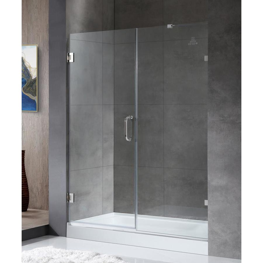 ANZZI Consort Series 58-in to 58.5-in Frameless Polished Chrome Hinged Shower Door