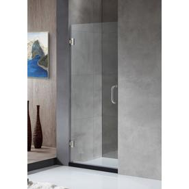ANZZI Fellow Series 24-in to 24-in Frameless Brushed Nickel Hinged Shower Door