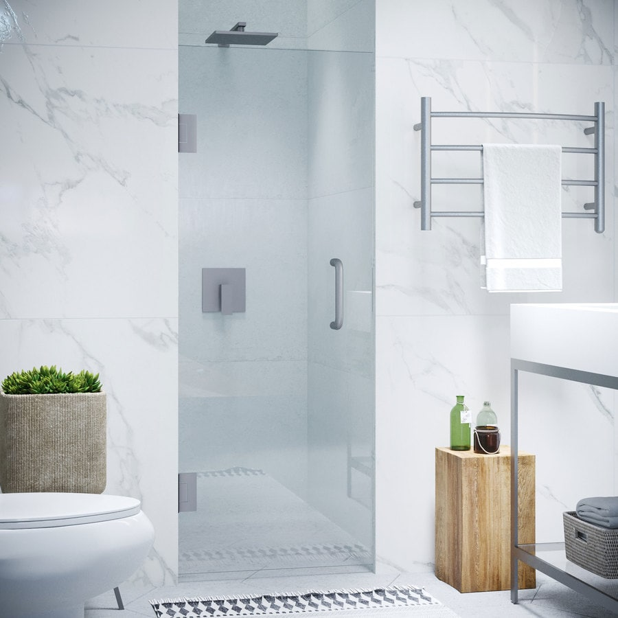 ANZZI Fellow Series 30-in to 30-in Frameless Brushed Nickel Hinged Shower Door