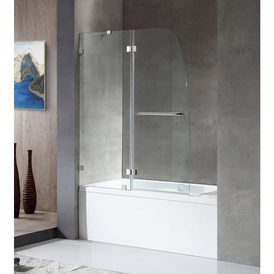 ANZZI Herald Series 48-in W x 58-in H Polished Chrome Bathtub Door