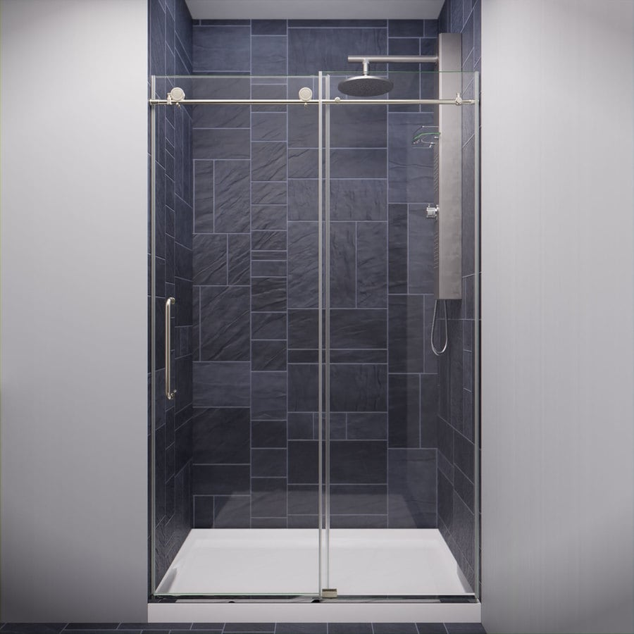 Anzzi Madam Series 44 In To 48 In W Frameless Brushed Nickel Bypass