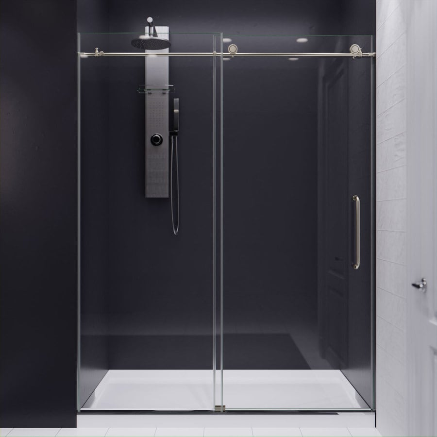 ANZZI Madam Series 44-in to 48-in Frameless Brushed Nickel Sliding Shower Door