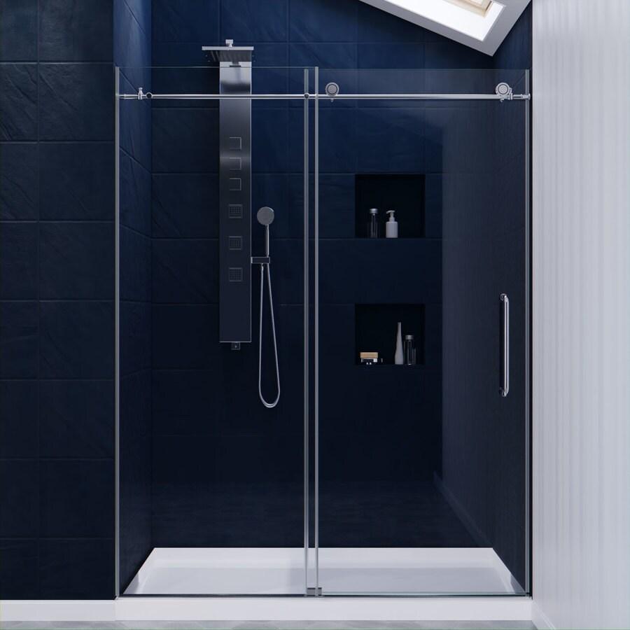 Frameless sliding shower doors lowes - Anzzi Madam Series 56 In To 60 In Frameless Polished Chrome Sliding Shower Door