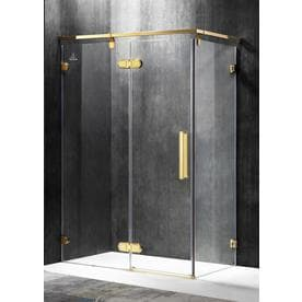 ANZZI Sultan Series 54.92-in to 55.51-in Semi-frameless Polished Gold Hinged Shower Door
