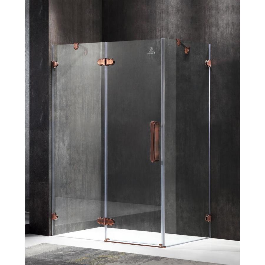 ANZZI Deacon Series 54.92-in to 55.51-in Semi-frameless Antique Bronze Hinged Shower Door
