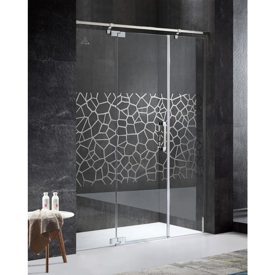 ANZZI Grove Series 63-in to 63-in Semi-frameless Polished Chrome Hinged Shower Door