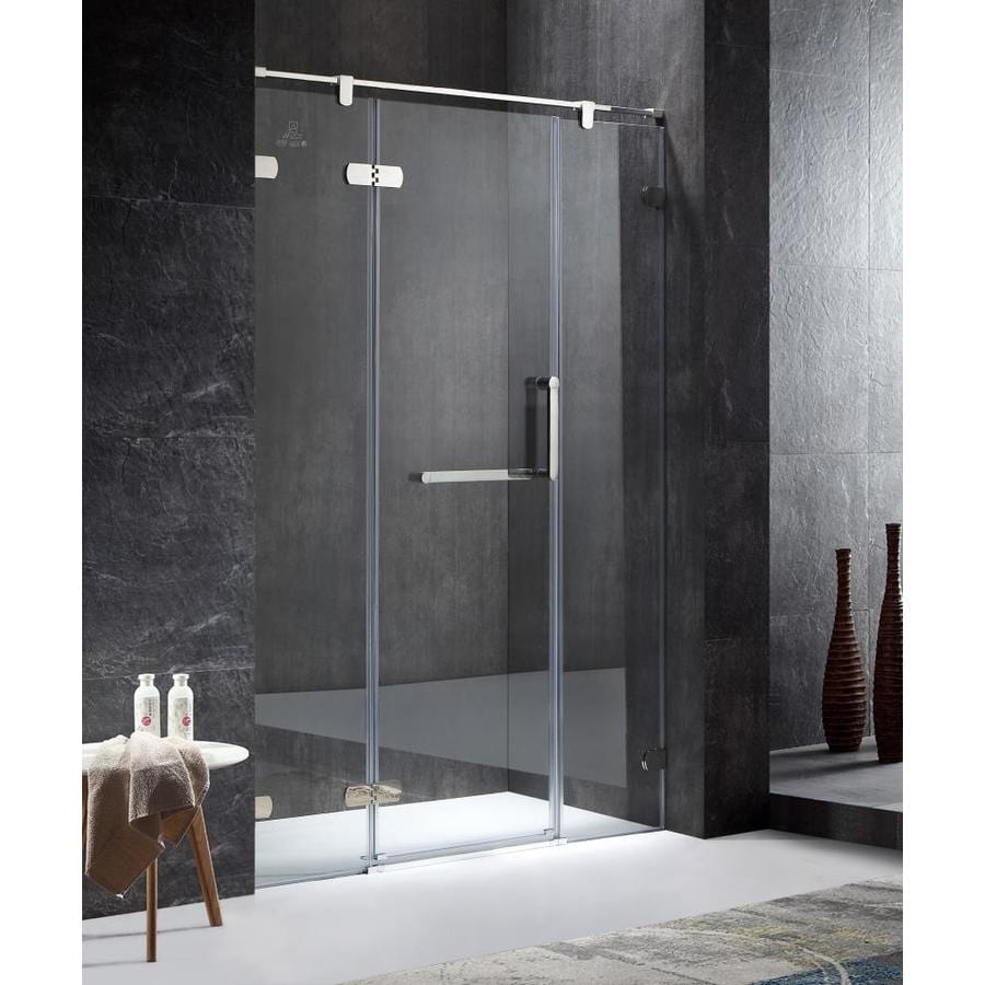 ANZZI Emperor Series 55.11-in to 55.11-in Semi-frameless Polished Chrome Hinged Shower Door
