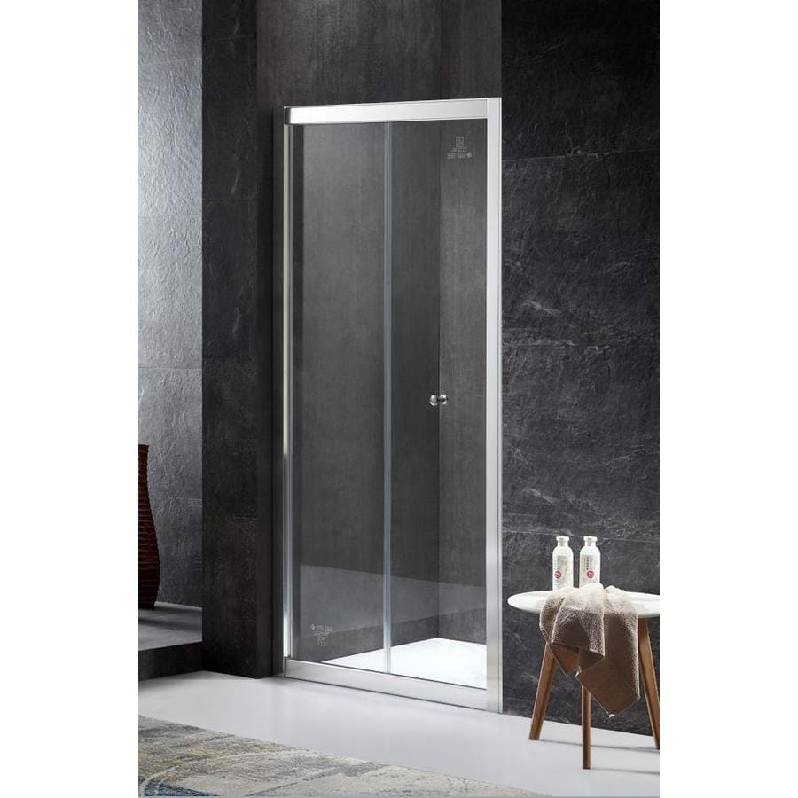 ANZZI Rampart Series 35.43-in to 36-in Framed Polished Chrome Bifold Shower Door