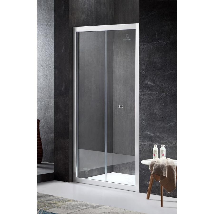 ANZZI Rampart Series 35.43-in to 36-in Framed Brushed Nickel Bifold Shower Door
