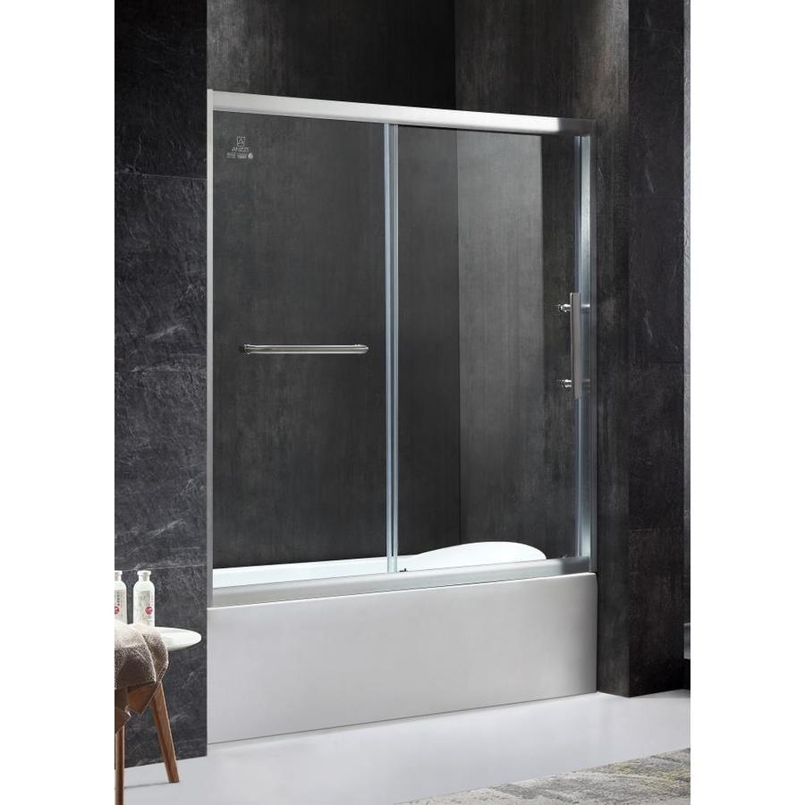 ANZZI Keep Series 60.43-in W x 59.06-in H Brushed Nickel Framed Bathtub Door