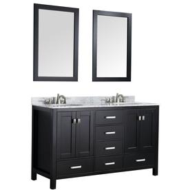 ANZZI Chateau Series Black Double Sink Vanity with Carrara White Natural Marble Top (Common: 60-in x 22-in)