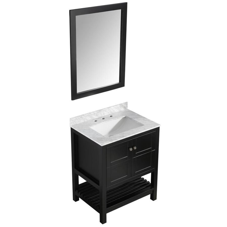 Anzzi montaigne series 31 in black single sink bathroom - Bathroom vanity black marble top ...