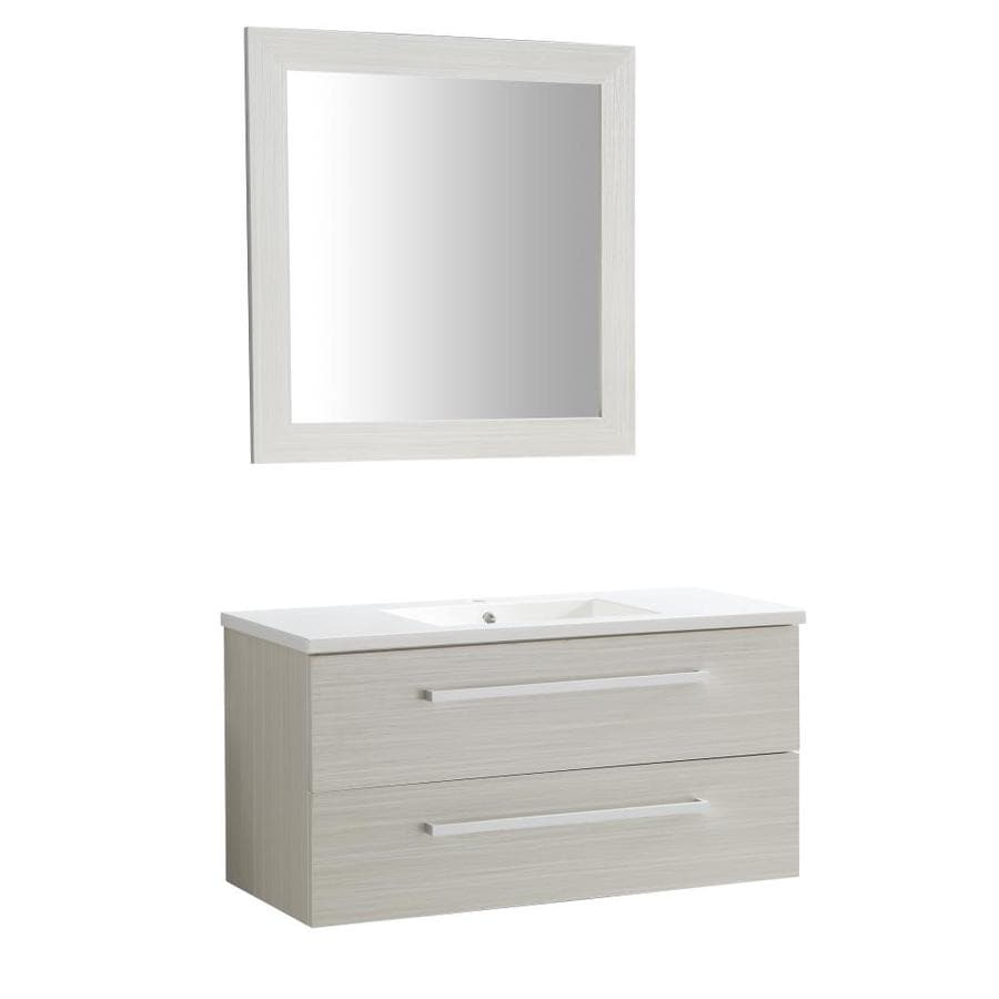 Anzzi Conques Series 40 In White Single Sink Bathroom Vanity With