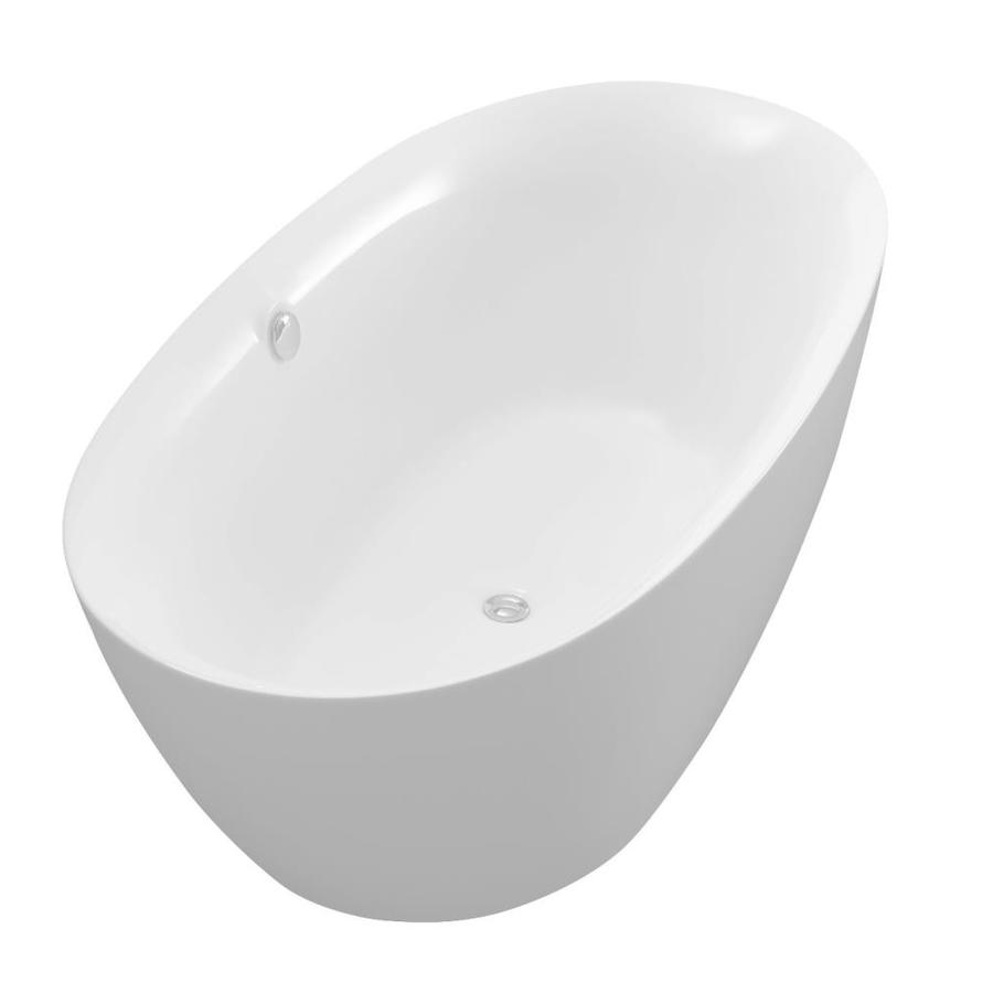 ANZZI Adze Series 70.8-in White Acrylic Freestanding Bathtub with Center Drain