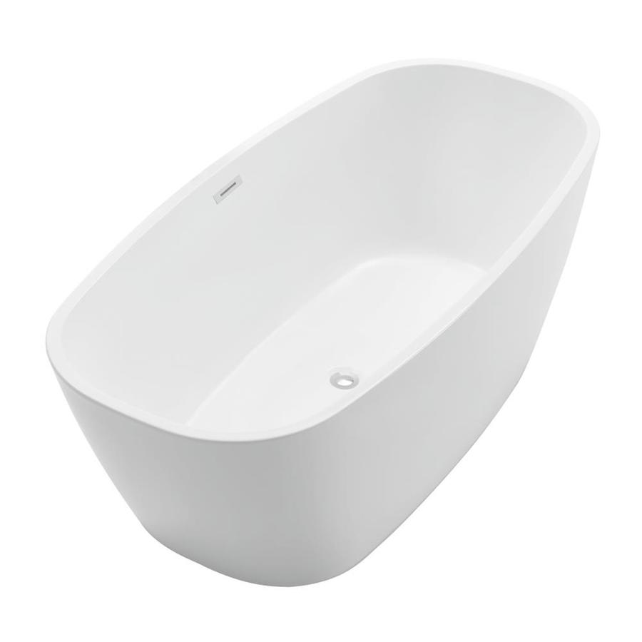 ANZZI Bridge Series 67-in White Acrylic Freestanding Bathtub with Center Drain