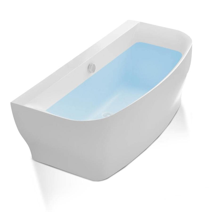 ANZZI Bank Series 64.9-in White Acrylic Freestanding Bathtub with Center Drain