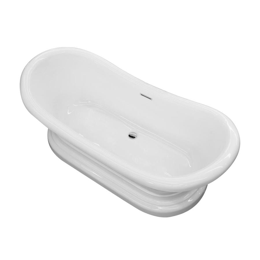 ANZZI Ruby Series 70.75-in White Acrylic Freestanding Bathtub with Center Drain