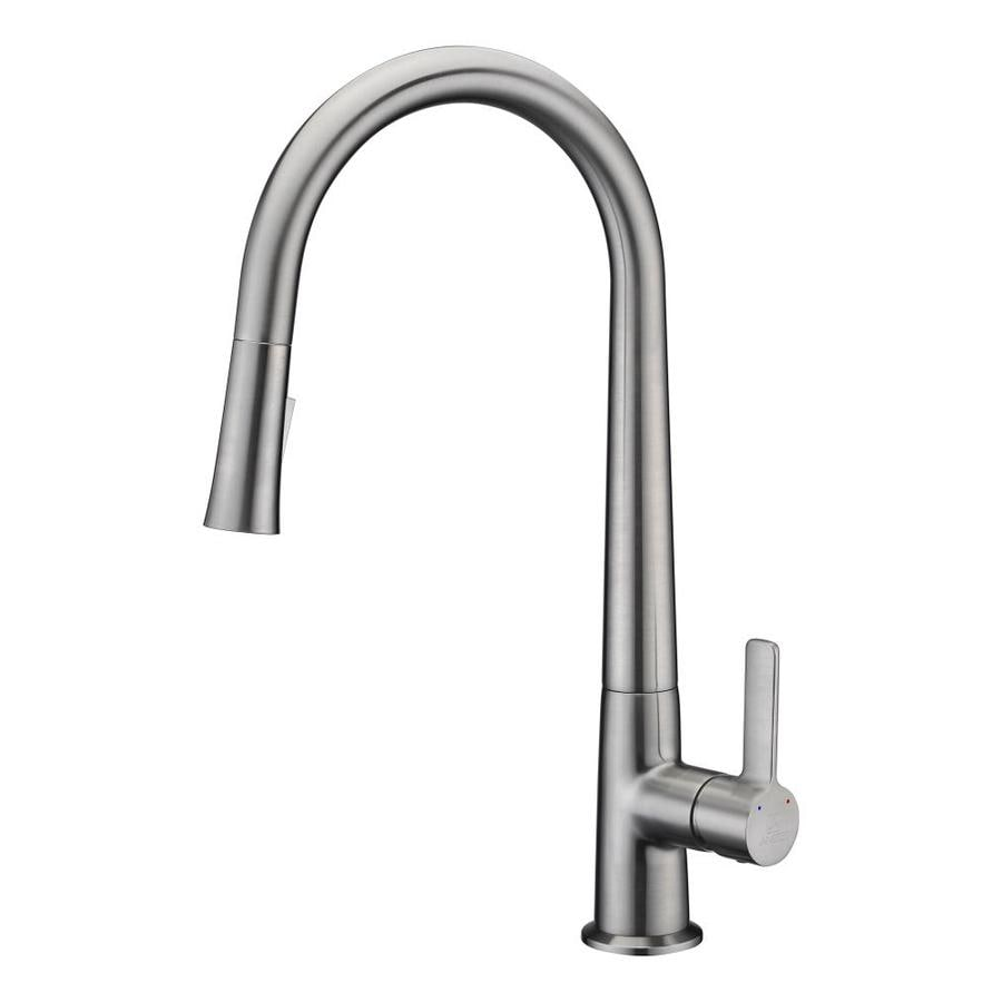 Anzzi Orbital Brushed Nickel 1 Handle Deck Mount Pull Down Handle Kitchen Faucet Deck Plate Included In The Kitchen Faucets Department At Lowes Com