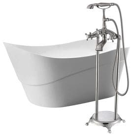 ANZZI Kahl White Acrylic Oval Bathtub With Reversible Drain (Common: 32 In X