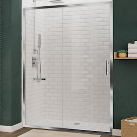 Coastal Shower Doors Illusion Series 70 In H X 57 75 In To 59 In W Frameless Hinged Chrome Shower Door Clear Glass In The Shower Doors Department At Lowes Com