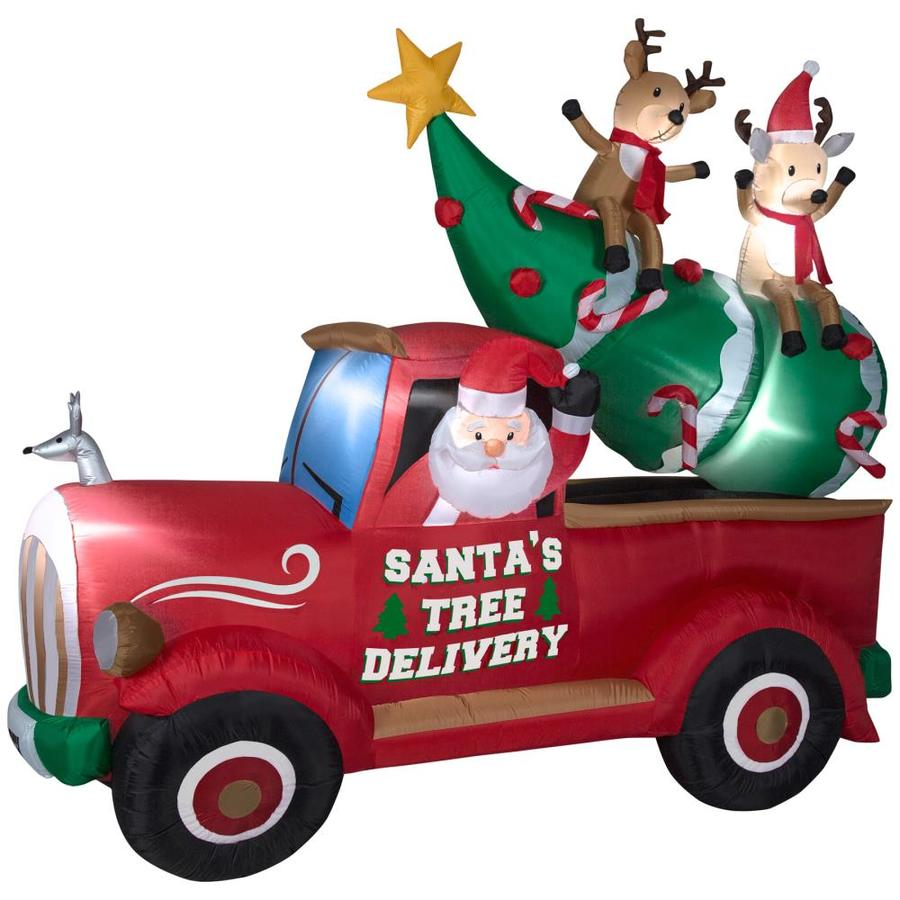 holiday living 787 ft x 935 ft lighted santas delivery truck christmas inflatable - Lowes Inflatable Christmas Decorations