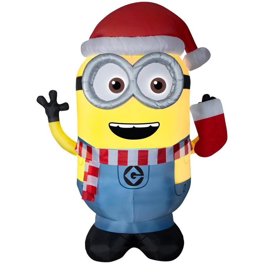 Shop Universal 8.99-ft x 4.69-ft Lighted Minion Christmas Inflatable ...