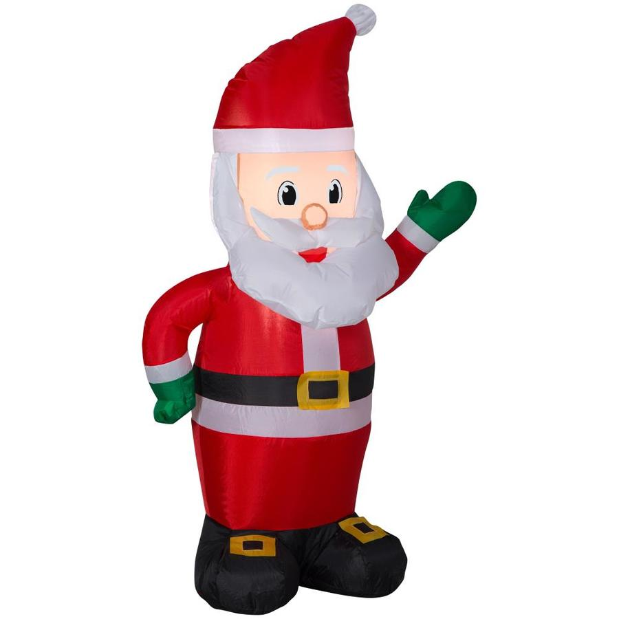 Shop Holiday Living 4-ft Lighted Santa Christmas Inflatable at Lowes.com
