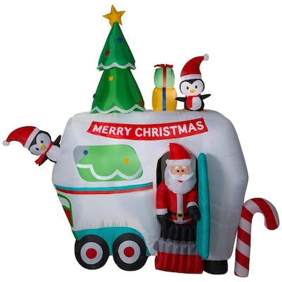 Lowes Christmas Inflatables.8 99 Ft Animatronic Lighted Santa Christmas Inflatable