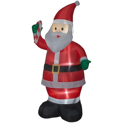 Lowes Christmas Inflatables.Holiday Living 6 99 Ft Lighted Santa Christmas Inflatable At