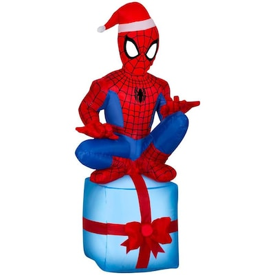 Spiderman Christmas.Airblown Msm Spider Man On Present 3 1 2 Ft Christmas Inflatable